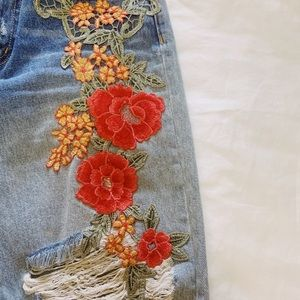 LF floral embroidered jeans
